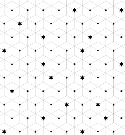 variously: Seamless geometric pattern. Fashion graphics background design with linear rhombuses and stars variously sized in nodes. Texture for prints, textiles, wrapping, wallpaper, website, blogs etc.