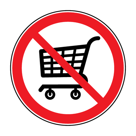 prohibited symbol: No Shopping Cart Sign. Red round No Shopping Cart icon. Illustration of a forbidden signal. No trolley allowed symbol. Prohibited symbol isolated on white background. Great for any use. Stock Stock Photo
