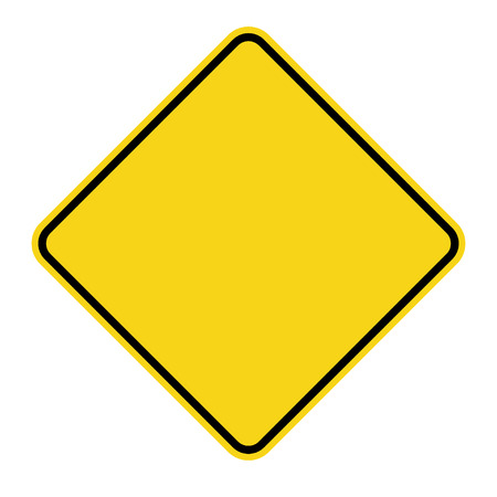 Blank Yellow Sign Empty Square Warning Symbol Isolated On White
