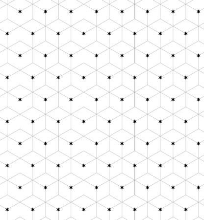 sized: Seamless geometric pattern. Fashion graphics background design with linear rhombuses and stars the same sized in nodes. Texture for prints, textiles, wrapping, wallpaper, website, blogs etc. Stock Photo