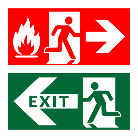 exit door: Exit sign. Emergency fire exit door and exit door. Green and red icon on white background. Safe condition symbol. Public information label with flame, human figure and arrow. Stock illustration