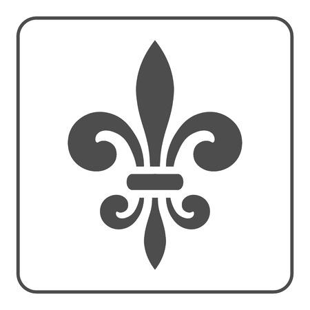 Fleur de Lis symbol. Fleur-de-Lis sign. Royal french lily. Heraldic icon for design,  or decoration. Elegant flower outline design. Gray element isolated on white background. illustration Stockfoto