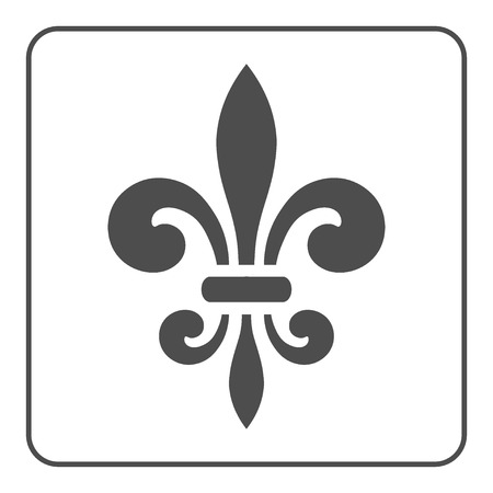 Fleur de Lis symbol. Fleur-de-Lis sign. Royal french lily. Heraldic icon for design,  or decoration. Elegant flower outline design. Gray element isolated on white background. illustration Stock Photo
