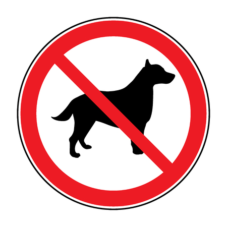 dog allowed: No dog Sign. Print with prohibition symbol. With pet no access. Round icon no allowed. Black silhouette isolated on white background. Stop emblem. Stock illustration