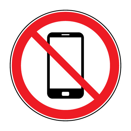 No cell phone sign. Mobile phone ringer volume mute sign. No smartphone allowed icon. No Calling label on white background. No Phone emblem great for any use. Stock Illustration Stock Photo