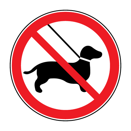 beware dog: No dog Sign. Print with prohibition symbol. With pet no access. Round icon no allowed. Black silhouette isolated on white background. Stop emblem. Stock illustration
