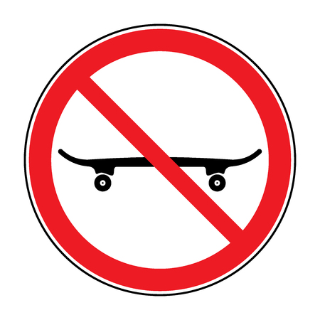 boarding: No skateboarding icon. Skateboard is not allowed sign. Symbol depicting banned activities. Prohibited public information icon. Stop label in red round isolated on white background illustration