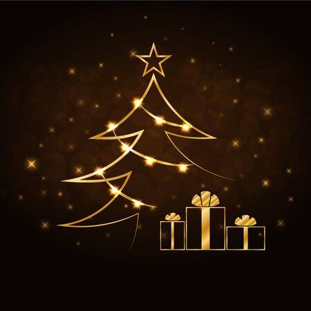 gold tree: Merry Christmas celebration background, gold Xmas tree. Decorative golden gift box, balls, star. Simple sketch card, greeting. Shine light Happy New Year holiday decoration. Vector illustration Illustration