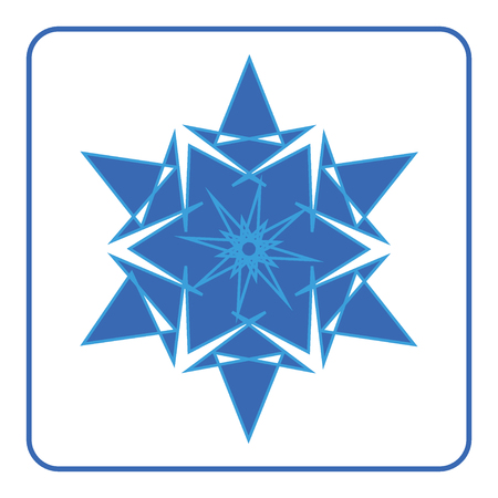 snowflake icon: Snowflake icon. Blue sign. Abstract decorative element. Fashionable symbol of winter, ice, cold isolated on white background. Beautiful fashion printing design for print products. illustration