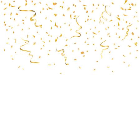 Gouden confetti op een witte achtergrond. Dalende gouden abstracte decoratie voor partij, verjaardag, jubileum of Kerstmis, Nieuwjaar. Festival decor. vector illustratie