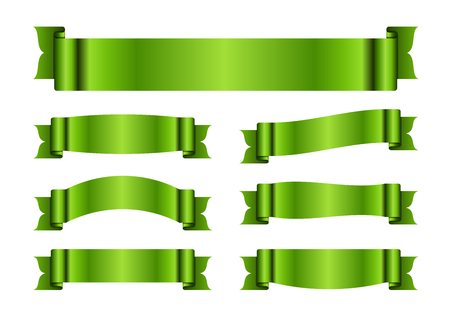 blanks: Green ribbons set. Satin blank banners collection. Design label scroll blanks element, isolated on white background. Empty template for greeting, advertising. Symbols decoration. Vector illustration