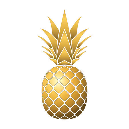 Pineapple gold icon. Tropical fruit, isolated on white background. Symbol of food, sweet, exotic and summer, vitamin, healthy. Nature. 3D concept. Design element Vector illustration Ilustração