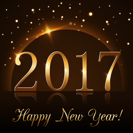 Happy New Year background with magic gold rain and globe. Golden numbers 2017 on horizon. Christmas planet design light, glow and sparkle, glitter. Symbol of wish, celebration. Vector illustration