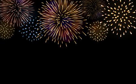 Firework bursting sparkle background set. Colorful night fire, beautiful explosion for celebration, holiday, Christmas, New Year, birthday. Symbol festive, carnival, anniversary. Vector illustration