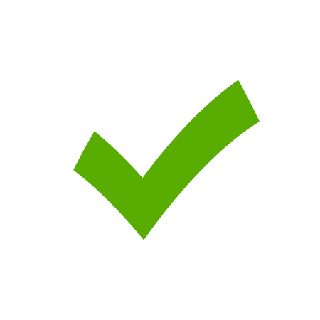 Tick sign element. Green checkmark icon isolated on white background. Simple mark graphic design. OK button for vote, decision, web. Symbol of correct, check, approved. Vector illustration 向量圖像