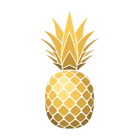 Pineapple gold icon. Tropical fruit, isolated on white background. Symbol of food, sweet, exotic and summer, vitamin, healthy. Nature. 3D concept. Design element Vector illustration Çizim