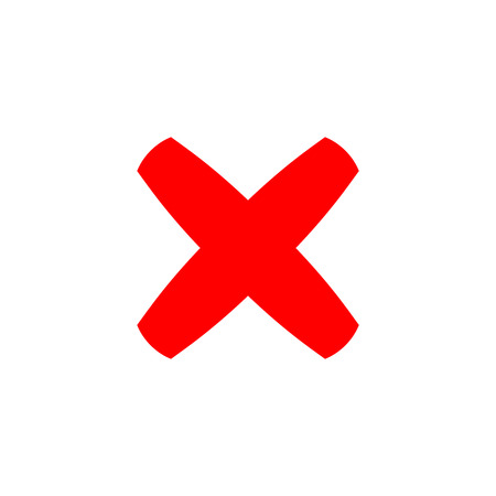Cross sign element. Red X icon isolated on white background. Simple mark graphic design. Button for vote, decision, web. Symbol of error, check, wrong and stop, failed. Vector illustration