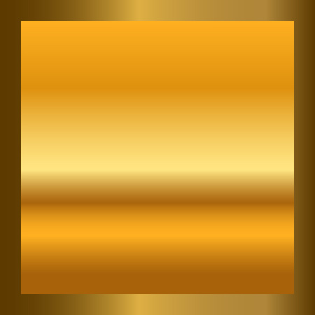 wallpaper copper gold golden: Gold texture in square golden frame. Isolated gradient smooth material background. Textured bright metal light, shiny, reflection. Metallic blank decoration pattern. Abstract art Vector Illustration Illustration