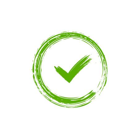 目盛記号要素。緑色のチェック マーク アイコンは、白い背景で隔離。シンプルなデザインです。投票、決定、ウェブの円図形 [ok] ボタン。正しいチ  イラスト・ベクター素材
