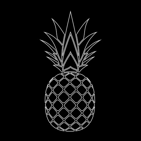 Pineapple with leaf silhouette icon. Tropical fruit isolated on black background. Symbol of food, exotic and summer, vitamin, healthy. Nature. Flat concept. Design element Vector illustration