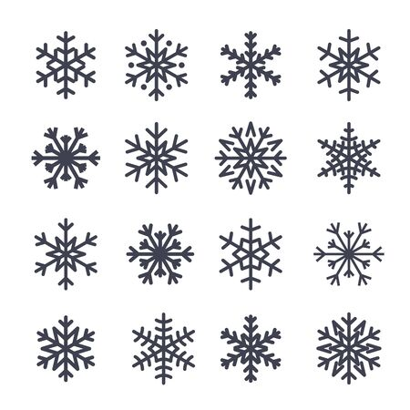 Snowflake icons set. Gray silhouette snowflakes signs, isolated on white background. Flat design. Symbol of winter, snow, Christmas, New Year holiday. Graphic element decoration Vector illustration Vectores