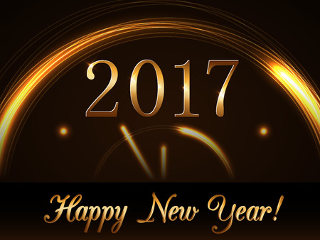 countdown: Happy New Year background with magic gold clock countdown five minute. Golden numbers 2017. Christmas night design light, glitter. Symbol of wish, celebration. Luxury decoration Vector illustration