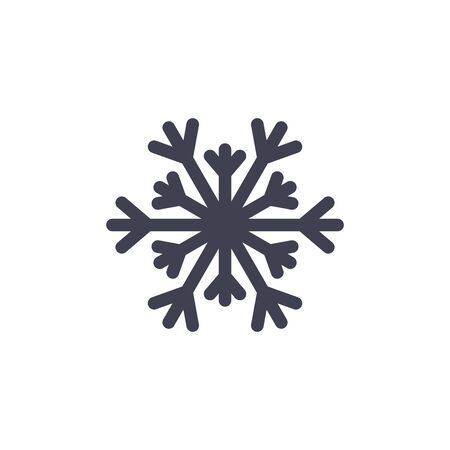 lightweight ornaments: Snowflake icon. Black silhouette snow flake sign, isolated on white background. Flat design. Symbol of winter, frozen, Christmas, New Year holiday. Graphic element decoration. Vector illustration