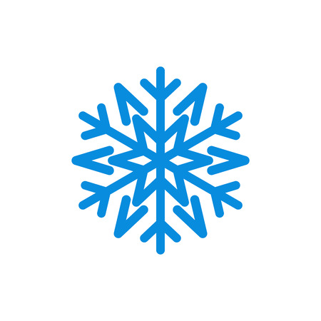 lightweight ornaments: Snowflake icon. Blue silhouette snow flake sign, isolated on white background. Flat design. Symbol of winter, frozen, Christmas, New Year holiday. Graphic element decoration. Vector illustration