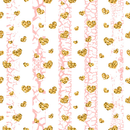 craquelure: Gold grunge hearts craquelure stripes seamless pattern. Golden glitter confetti. White and pink background. Love Valentine day, wedding design card, wallpaper, wrapping, textile Vector Illustration