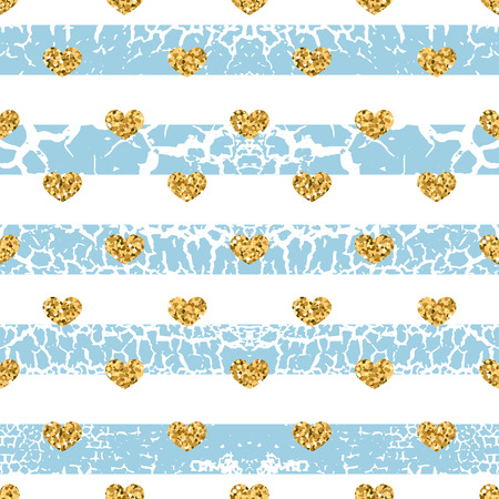craquelure: Gold grunge hearts craquelure stripes seamless pattern. Golden glitter confetti. White and blue background. Love Valentine day, wedding design card, wallpaper, wrapping, textile Vector Illustration