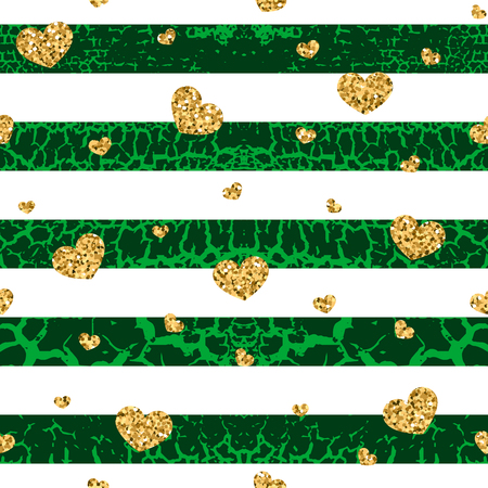 craquelure: Gold grunge hearts craquelure stripes seamless pattern. Golden glitter confetti. White and green background. Love Valentine day, wedding design card, wallpaper, wrapping, textile Vector Illustration