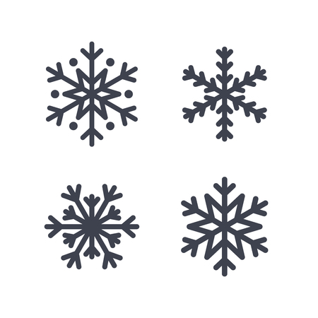 Snowflake icons set. Gray silhouette snowflakes signs, isolated on white background. Flat design. Symbol of winter, snow, Christmas, New Year holiday. Graphic element decoration Vector illustration Ilustracja