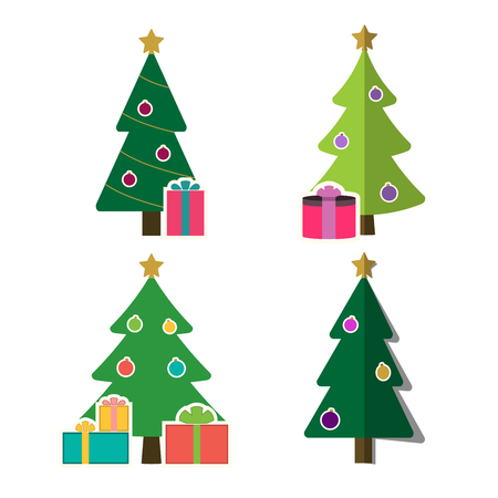 christmas tree cartoon icons set green flat silhouette decoration trees signs isolated on white background