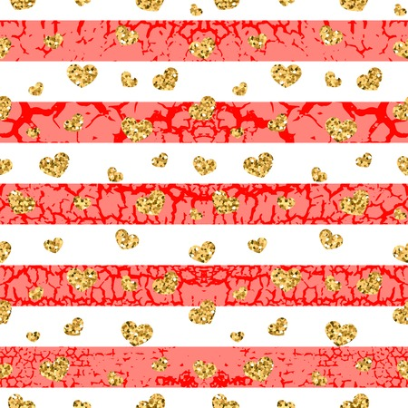 craquelure: Gold grunge hearts craquelure stripes seamless pattern. Golden glitter confetti. White and red background. Love Valentine day, wedding design card, wallpaper, wrapping, textile Vector Illustration
