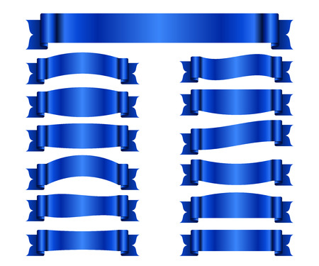 blanks: Blue ribbons set. Satin blank banners collection. Design label scroll blanks element, isolated on white background. Empty template for greeting or advertising. Symbols decoration. Vector illustration.
