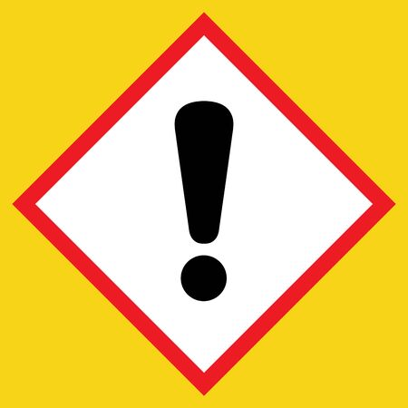 Exclamation point black sign. Hazard attention post icon on white background in a red rhombus, isolated on a yellow. Symbol of warning, caution, danger or risk. Flat style. Stock illustration