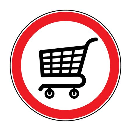 prohibited symbol: No Shopping Cart Sign. Red round No Shopping Cart icon. Illustration of a forbidden signal. No trolley allowed symbol. Prohibited symbol isolated on white background. Flat design. Stock Stock Photo