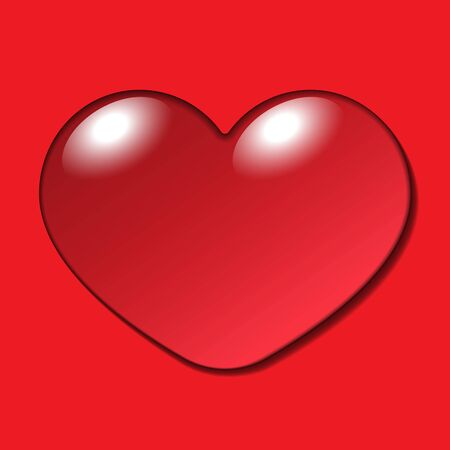 Water Heart Drop. Realistic macro sign isolated on red background. Symbol of love, happiness. Droplet heart-shape. Fashion bubble printing design for Valentine day or wedding card. illustration