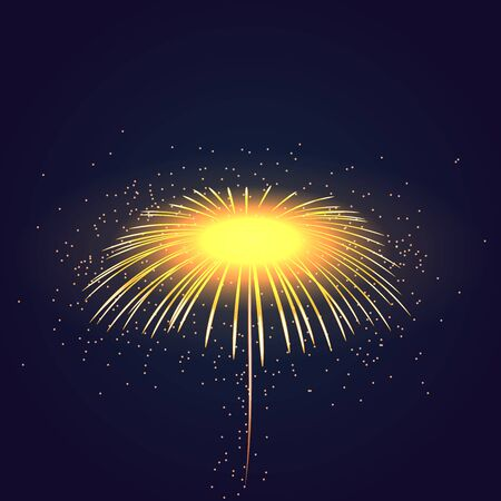 fourth birthday: Firework bursting sparkle background. Isolated gold colorful night fire, beautiful explosion celebration, holiday, Christmas, New Year, birthday. Symbol festive, anniversary Vector illustration Illustration