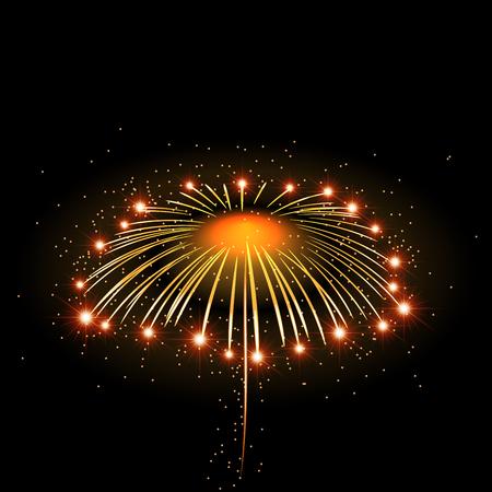 bonfire night: Firework bursting sparkle background. Isolated gold colorful night fire, beautiful explosion celebration, holiday, Christmas, New Year, birthday. Symbol festive, anniversary Vector illustration Illustration