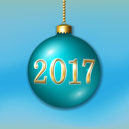 new year celebration: Merry Christmas 3D bauble, decoration with gold 2017 number. Green ball, isolated on light-blue background. Bright golden holiday design. Xmas, Happy New Year celebration. Vector illustration