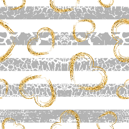 craquelure: Gold grunge hearts craquelure stripes seamless pattern. Golden glitter confetti. White and gray background. Love Valentine day, wedding design card, wallpaper, wrapping, textile Vector Illustration Illustration