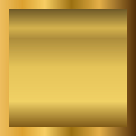 Gold texture horizontal square pattern in frame. Light realistic, shiny, metallic golden gradient template. Abstract fashion metal decoration. Design for award, sale, background Vector Illustration