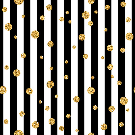 Gold polka dot on lines seamless pattern background. Golden foil confetti. Black and white stripes. Christmas glitter design decoration for card, wallpaper, wrapping, textile. Vector Illustration Ilustracja