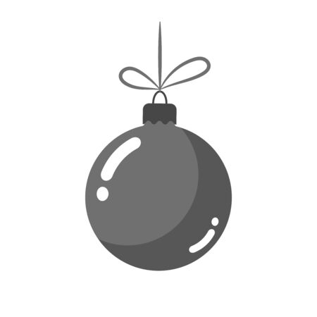 Christmas tree ball with bow. Gray bauble decoration, isolated on white background. Symbol of Happy New Year, Xmas holiday celebration, winter. Flat design for card. Vector illustration