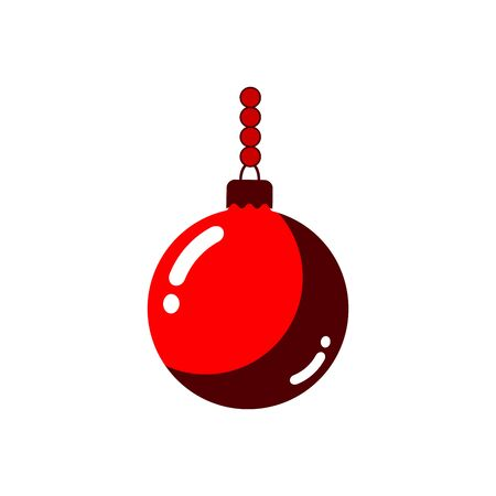 ball and chain: Christmas tree ball with chain. Red bauble decoration, isolated on white background. Symbol of Happy New Year, Xmas holiday celebration, winter. Flat design for card. Vector illustration Illustration