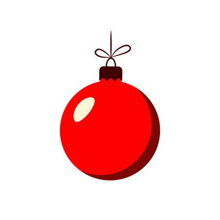Christmas tree ball with bow. Red bauble decoration, isolated on white background. Symbol of Happy New Year, Xmas holiday celebration, winter. Flat design for card. Vector illustration Illustration
