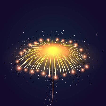 fourth birthday: Firework bursting sparkle background. Isolated gold colorful night fire, beautiful explosion for celebration, holiday, Christmas, New Year, birthday. Symbol festive, anniversary Vector illustration