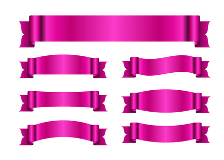 blanks: Pink ribbons set. Satin blank banners collection. Design label scroll blanks element, isolated on white background. Empty template for greeting or advertising. Symbols decoration Vector illustration Illustration