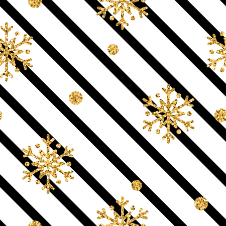 Christmas gold snowflake seamless pattern. Golden snowflakes on black and white diagonal lines background. Winter snow design wallpaper. Symbol holiday, New Year celebration Vector illustration